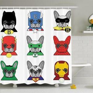 Shower Curtain Superhero Dogs Cartoon Print